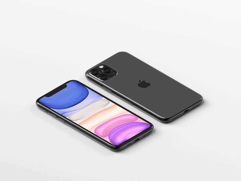 Isometric iPhone 11 Pro Max Mockup by Anthony Boyd Graphics