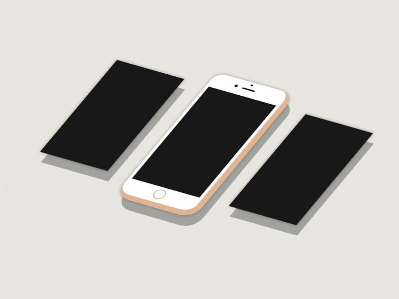 2D Flat Isometric Perspective iPhone 6S Plus Mockup by Anthony Boyd Graphics