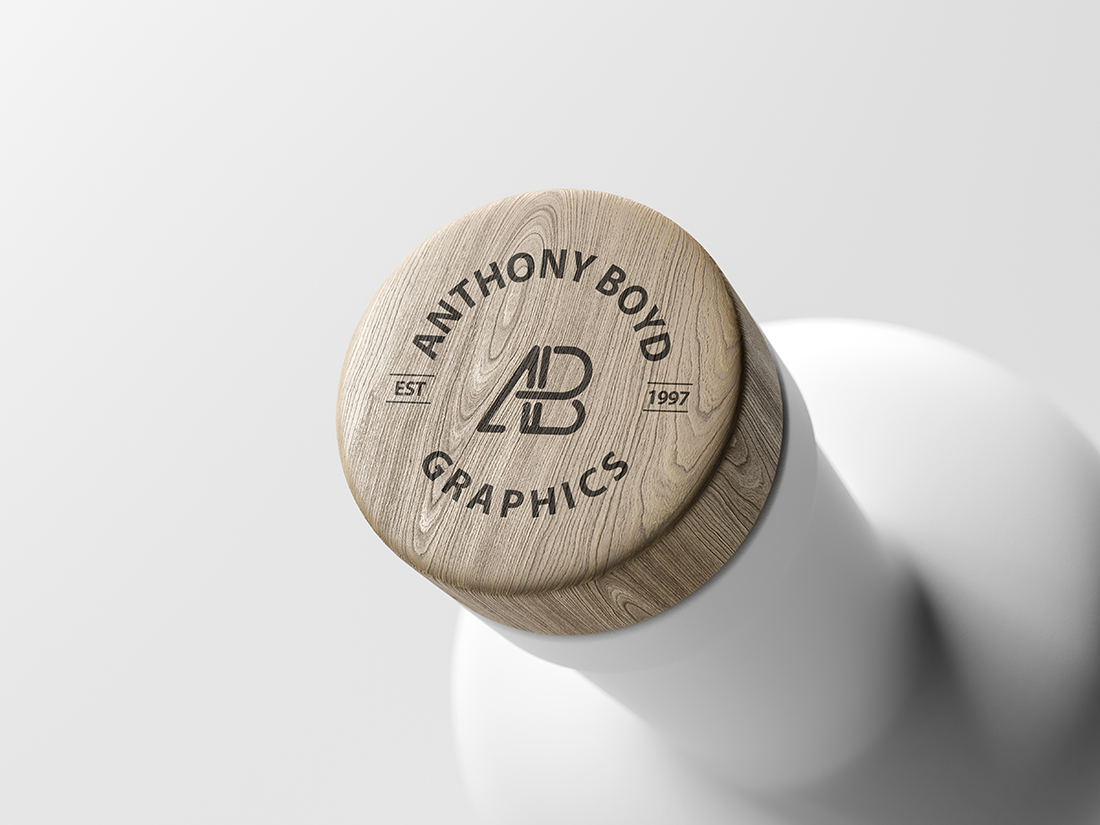Matte Bottle Top Logo Mockup by Anthony Boyd Graphics