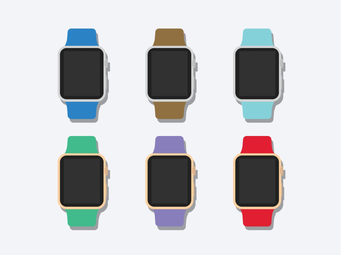 Flat 2D Apple Watch Mockup by Anthony Boyd Graphics