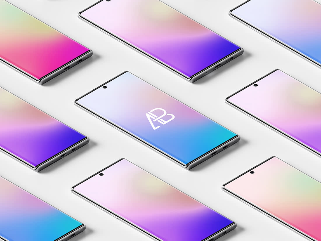 Isometric Samsung Galaxy Note 10 Pro Mockup by Anthony Boyd Graphics