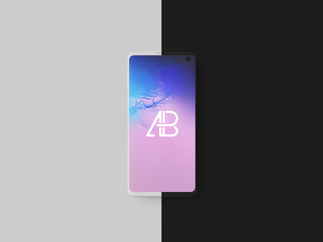 Clay Samsung Galaxy S10 Top View Mockup by Anthony Boyd Graphics