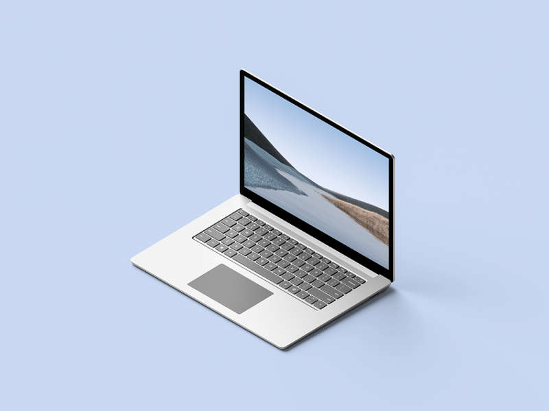Isometric Surface Laptop 3 Mockup by Anthony Boyd Graphics