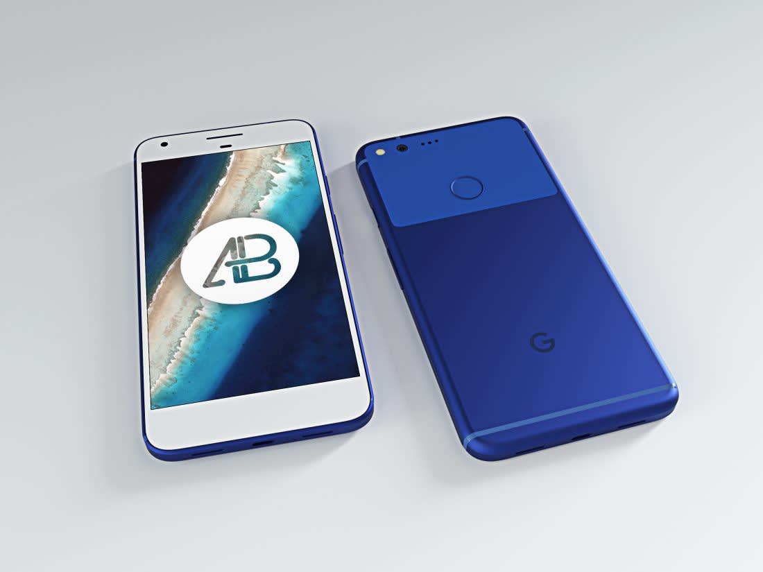 Realistic Really Blue Google Pixel XL Mockup by Anthony Boyd Graphics