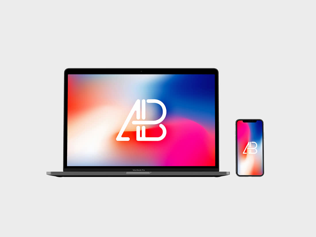 Front View iPhone X and Macbook Pro Mockup by Anthony Boyd Graphics