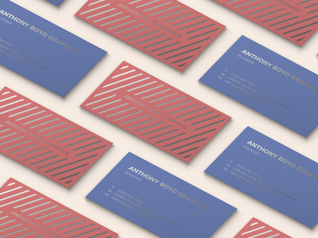 Modern Customizable Business Card Grid Mockup by Anthony Boyd Graphics