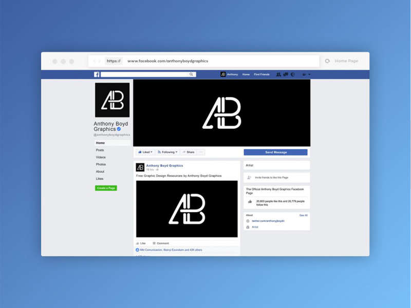 Facebook Page Mockup by Anthony Boyd Graphics