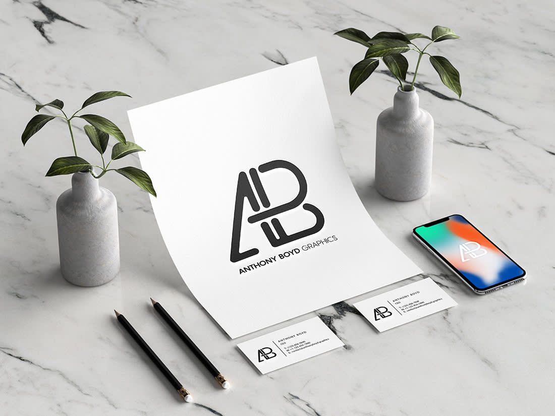 Modern Branding Identity Mockup by Anthony Boyd Graphics