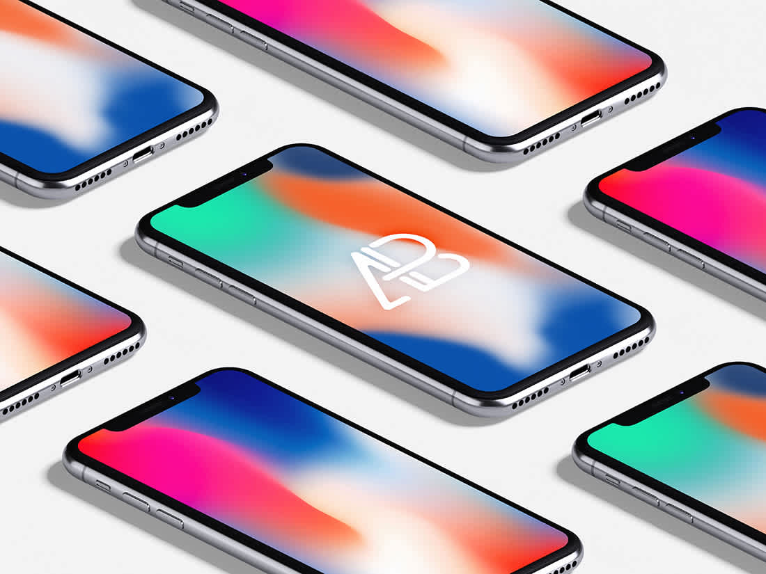 Isometric iPhone X Mockup Vol.3 by Anthony Boyd Graphics
