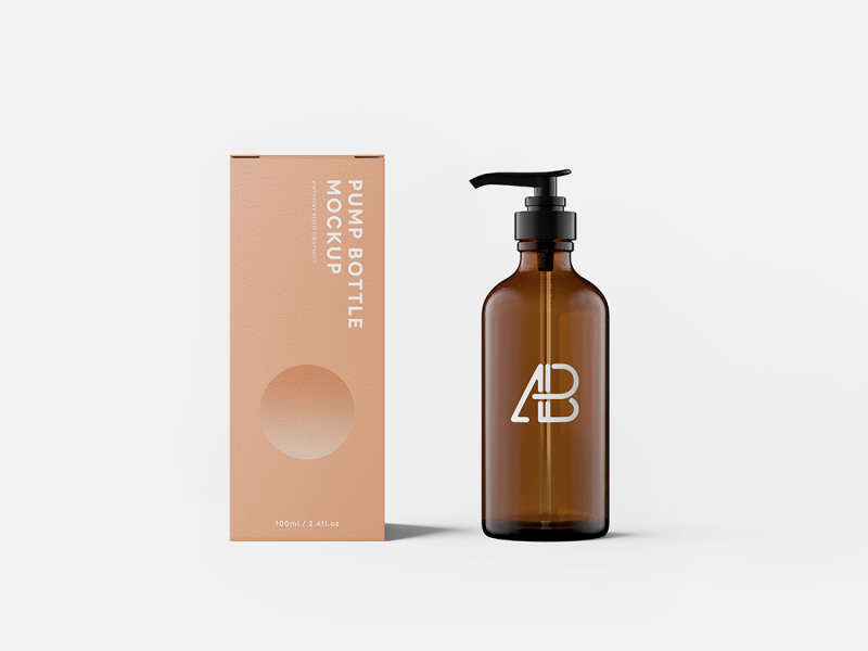 Pump Bottle With Box Mockup by Anthony Boyd Graphics