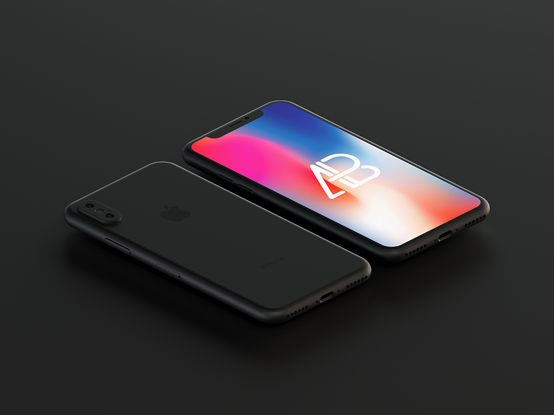 Matte Black iPhone X Mockup - Anthony Boyd Graphics