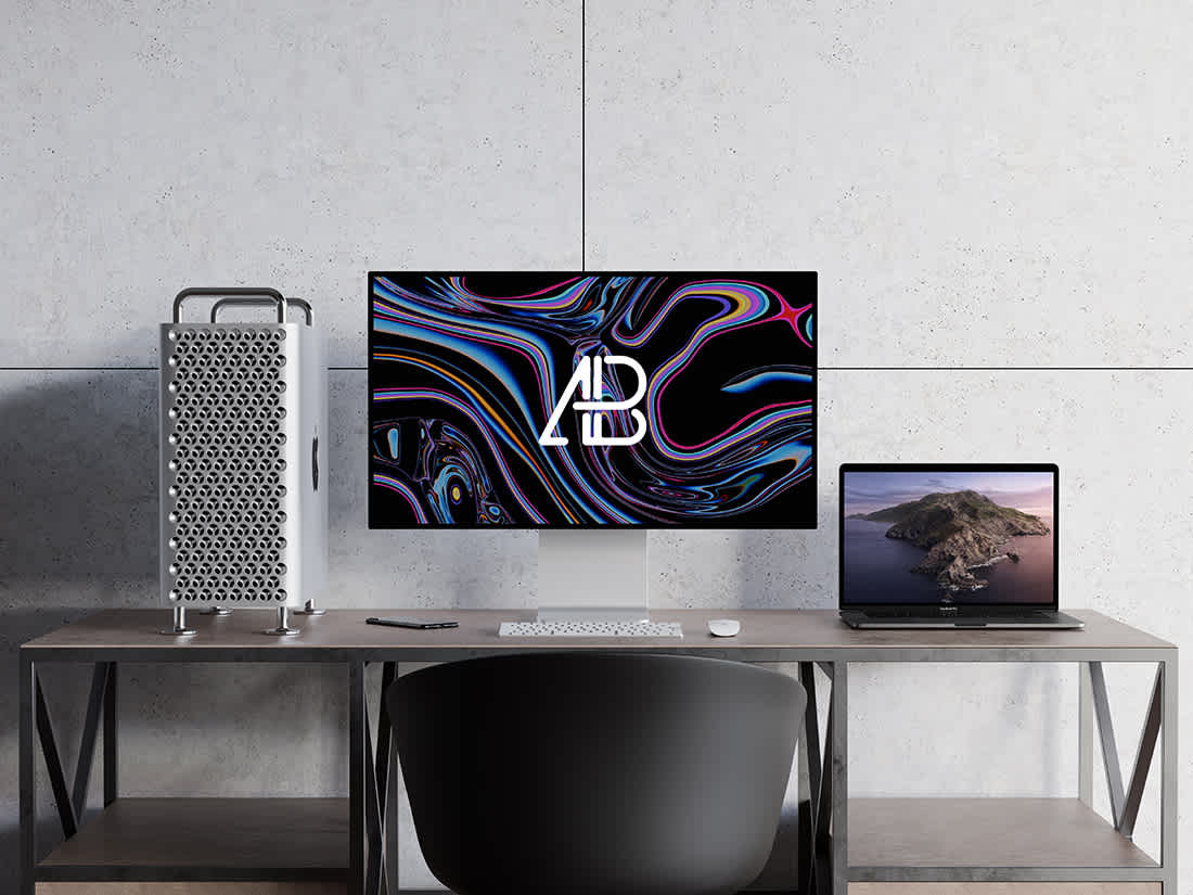 2019 Mac Pro and MacBook Pro Mockup by Anthony Boyd Graphics