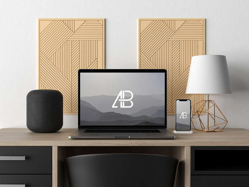 Modern Macbook Pro and iPhone X on Desk Mockup by Anthony Boyd Graphics