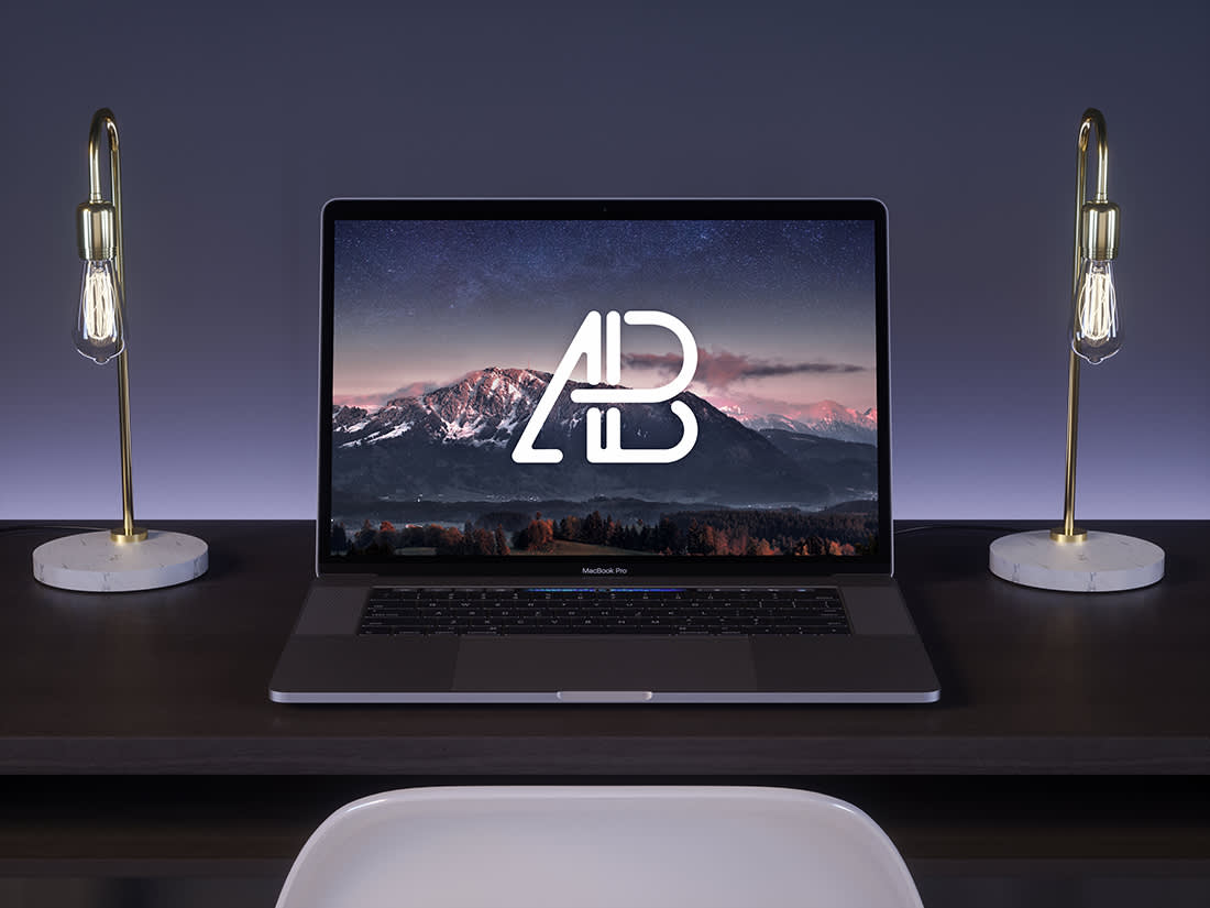 2017 MacBook Pro On Desk Mockup by Anthony boyd Graphics