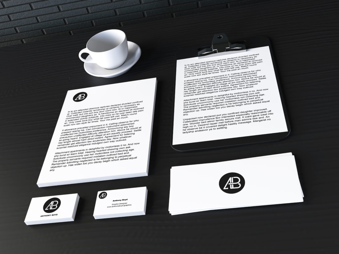 Realistic Stationary Branding & Identity Mockup by Anthony Boyd Graphics