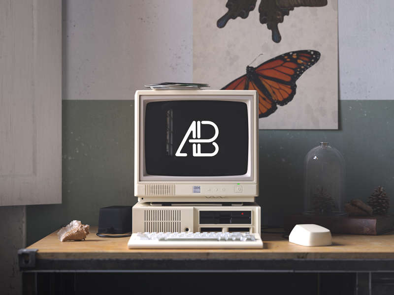 Retro IBM Desktop Mockup by Anthony Boyd Graphics