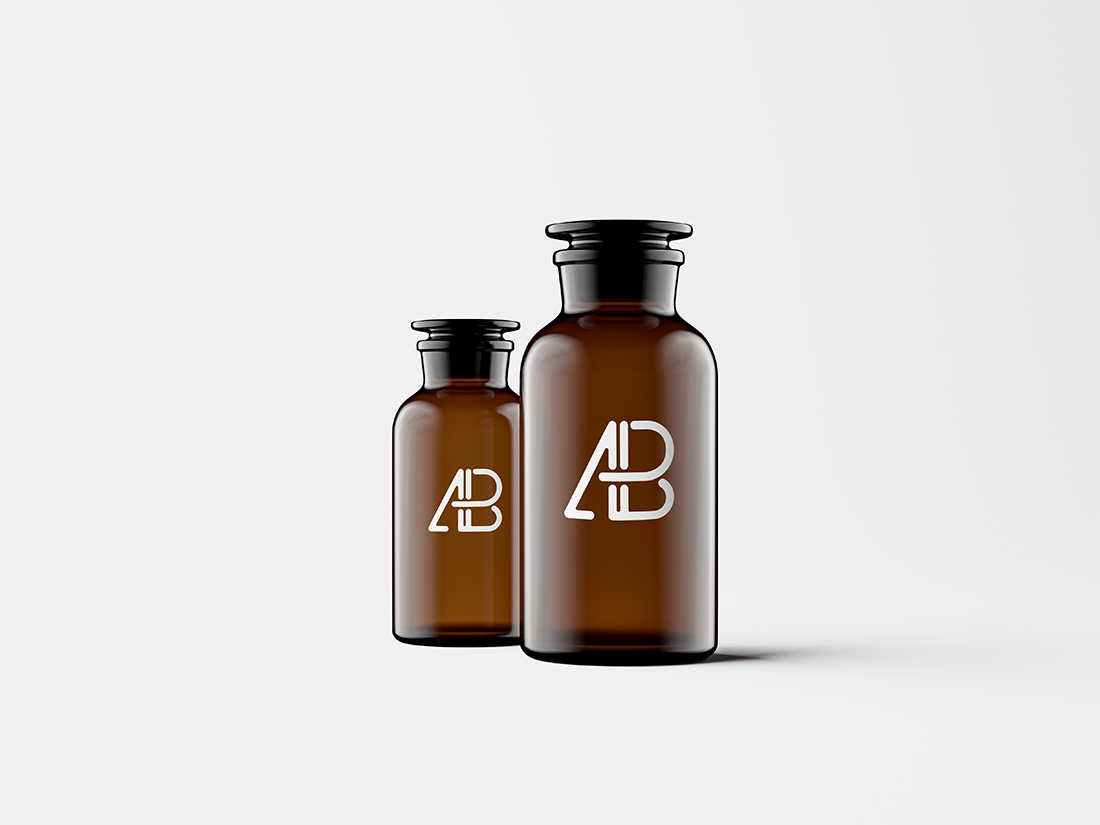 Amber Glass Apothecary Jars Mockup by Anthony Boyd Graphics