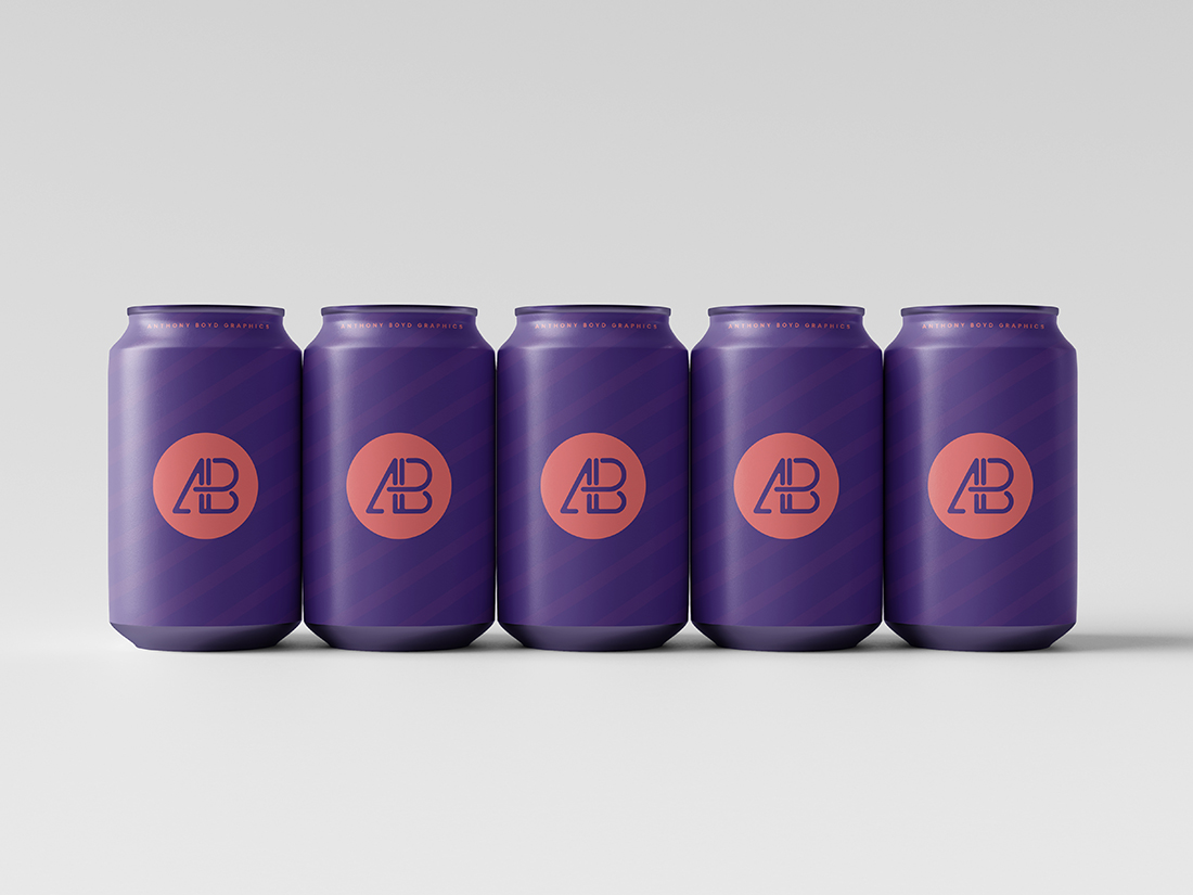 330mL Can Set Mockup by Anthony Boyd Graphics