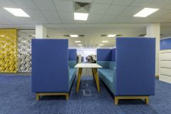 DfE Cheylesmore House - Blue meeting booth with Yellow screening