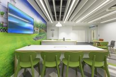 MOJ 10SC Green Chairs With Bright Wall Graphic