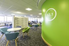 DfE Cheylesmore House - Bubble meeting room graphic number and green breakout area