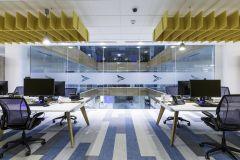 BNY Mellon Desks Overlooking Atrium Space With Yellow Acoustics