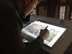 Leeds Beckett University James Sketching On Lightbox