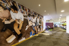 DfE Cheylesmore House - Wall Graphic of Students in Library