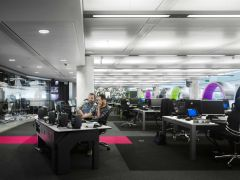 BBC MediaCity UK Office Space With Coloured Booths