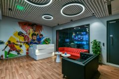 Sony Mumbai Soft Seating Area with Wall Graphic and O Lights