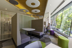 DfE Cheylesmore House - Angular Green and Purple Meeting Booth