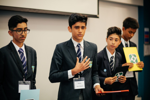 Photo - students pitch to judges