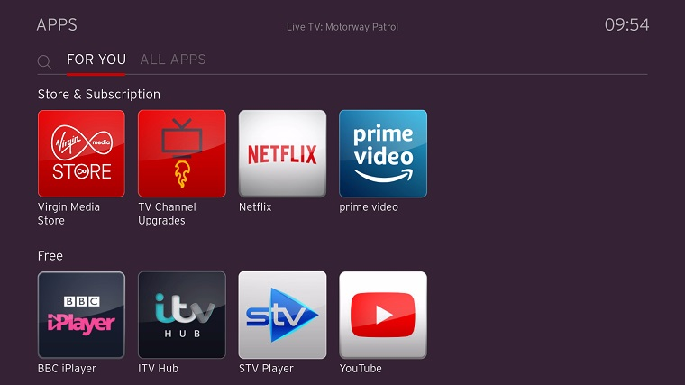 Virgin TV 360 apps