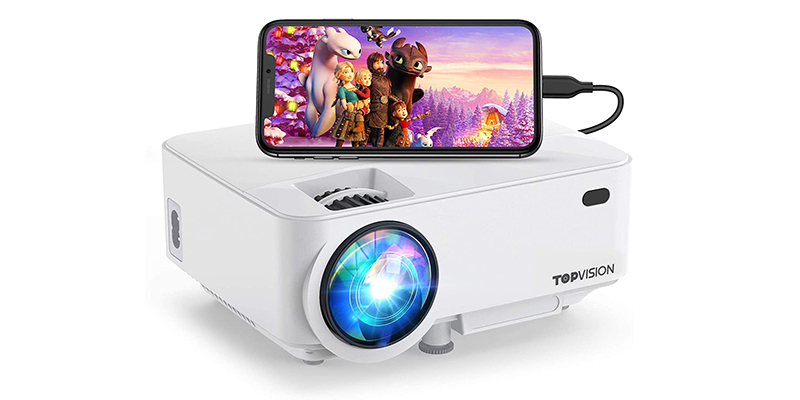 "Mini Projector ,TOPVISION Projector 4500 Lumens HD 1080P 180"" Display Supported"