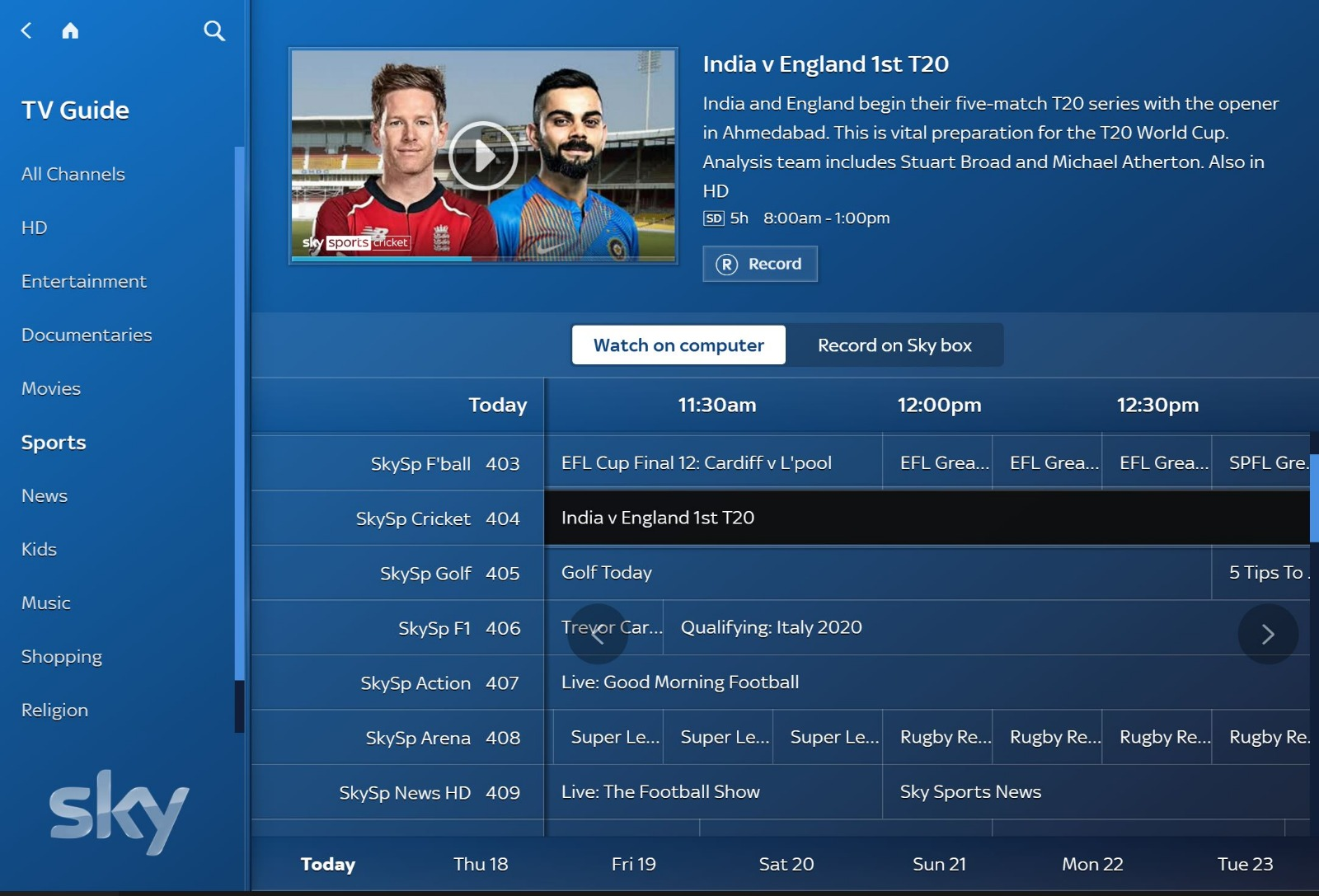 sky go tv guide