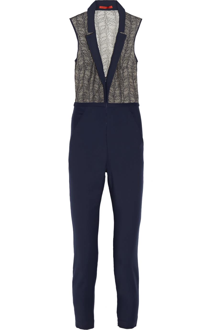 9c9eaa369f2b Tamara Mellon Lace and Stretch Cotton-Blend Jumpsuit