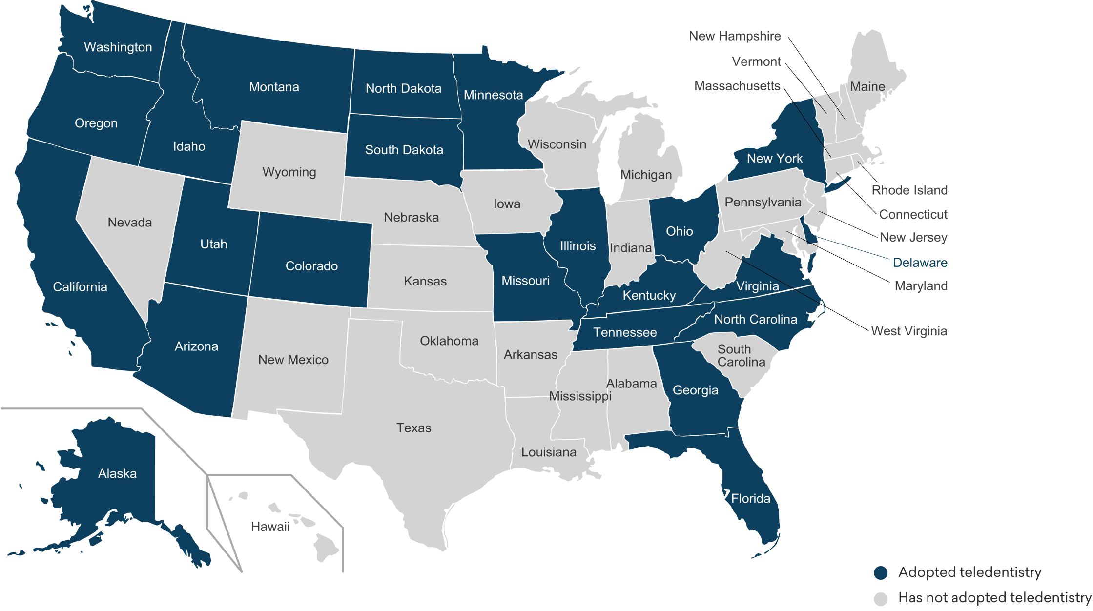 map of states offering teledentistry services