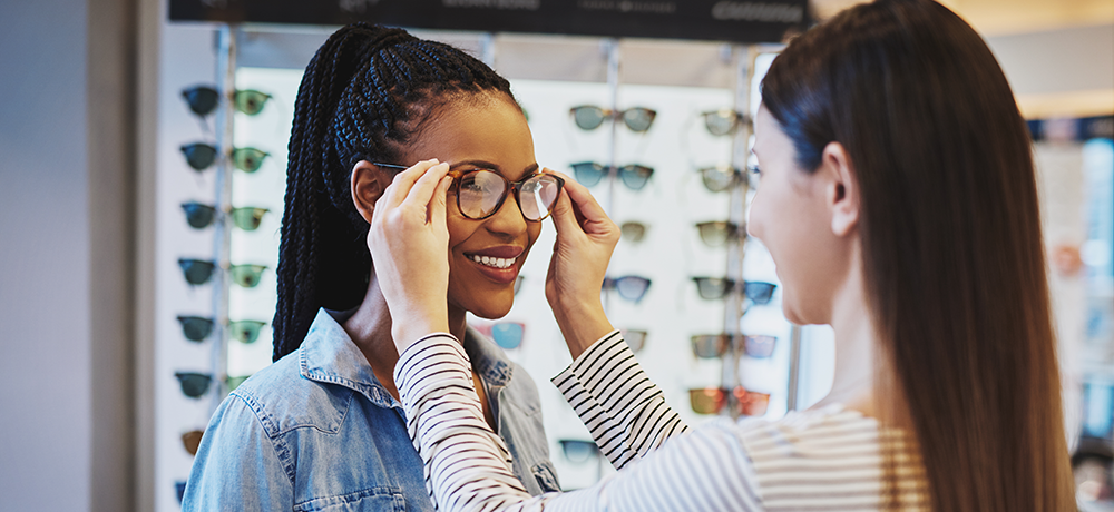 woman get glasses fitted to her face