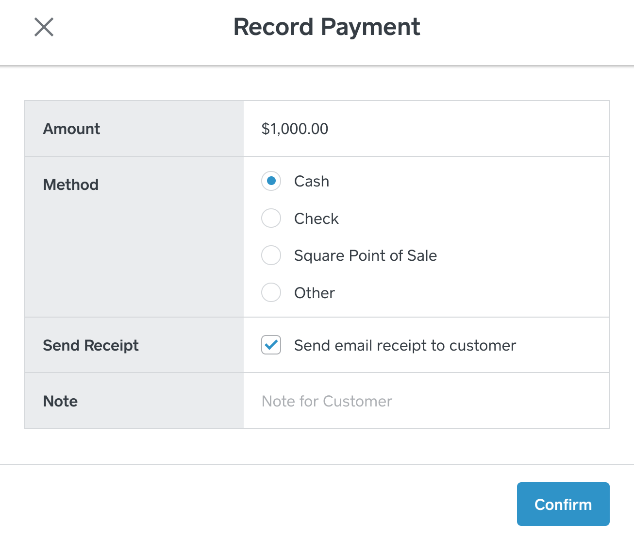 Record Payment
