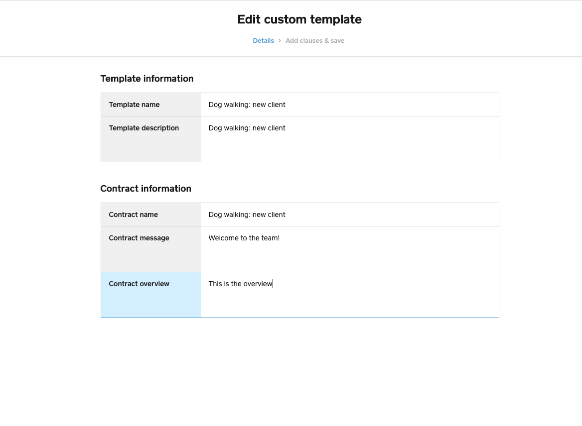 edit custom template