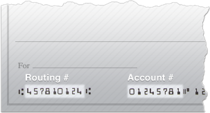 Routing # and account # on a check