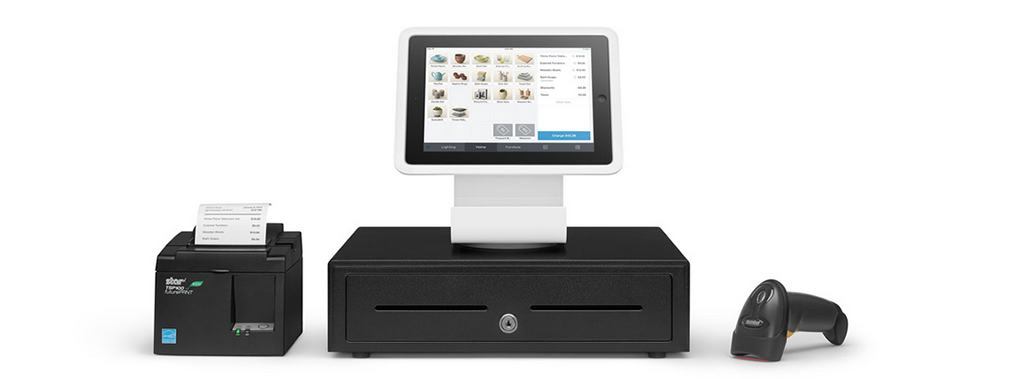 Square Stand, cash drawer, receipt printer, and barcode scanner
