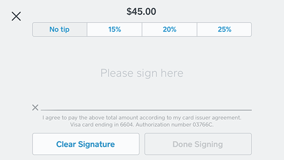 Signature Screen on iphone: X to cancel payment, tipping options, signature line, clear signature, done signing