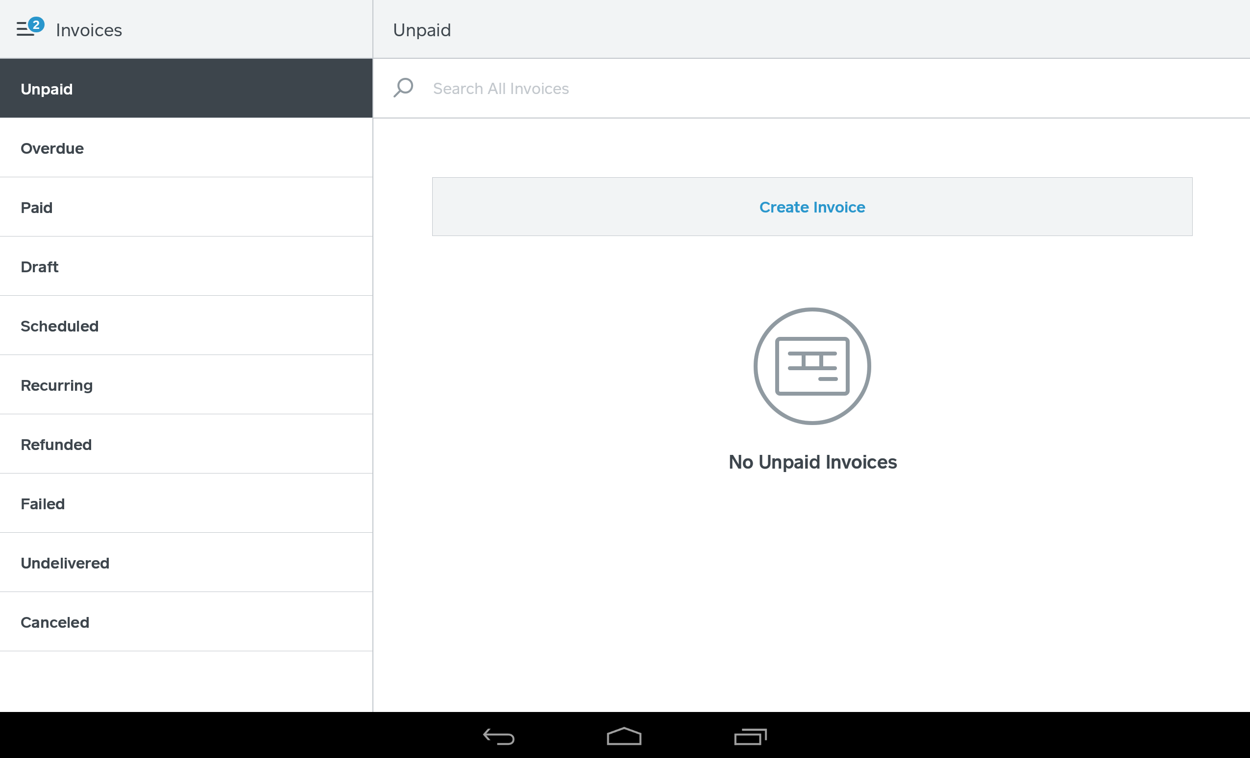 Invoices in the Square app Landscape view