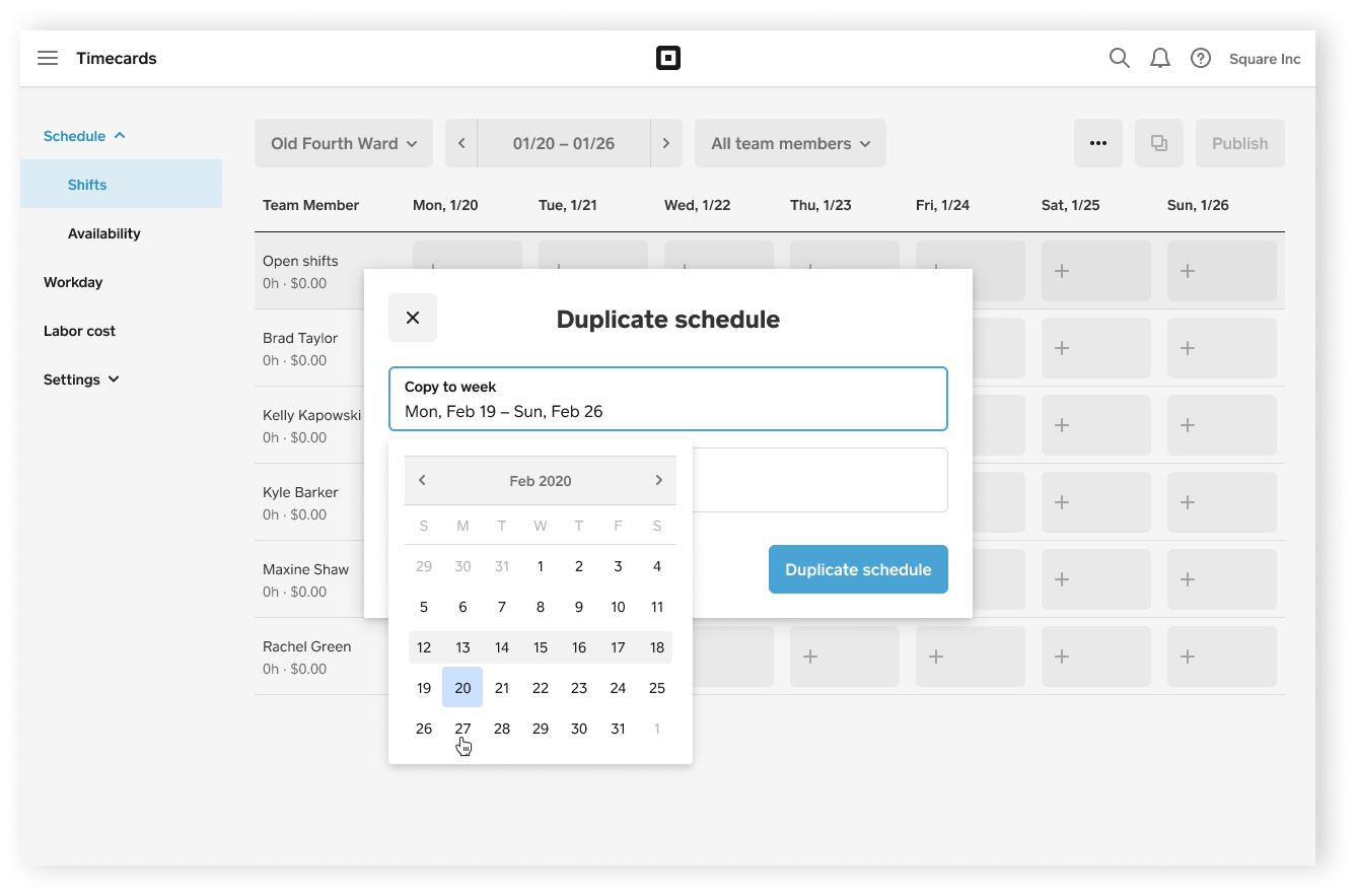 Shift Scheduling Duplicate