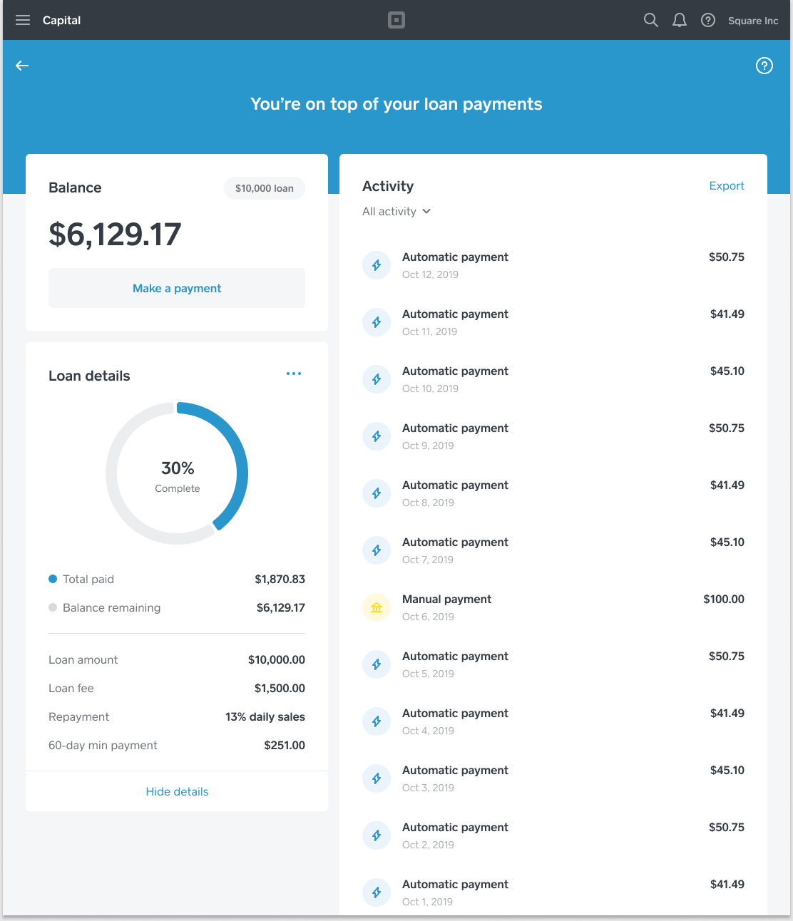 Capital - Repayment Dashboard - Dash - US