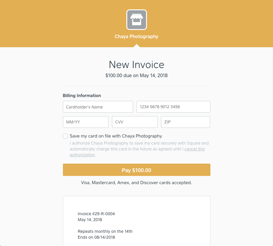 Square Invoice Payment Screen