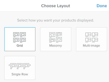 products layout