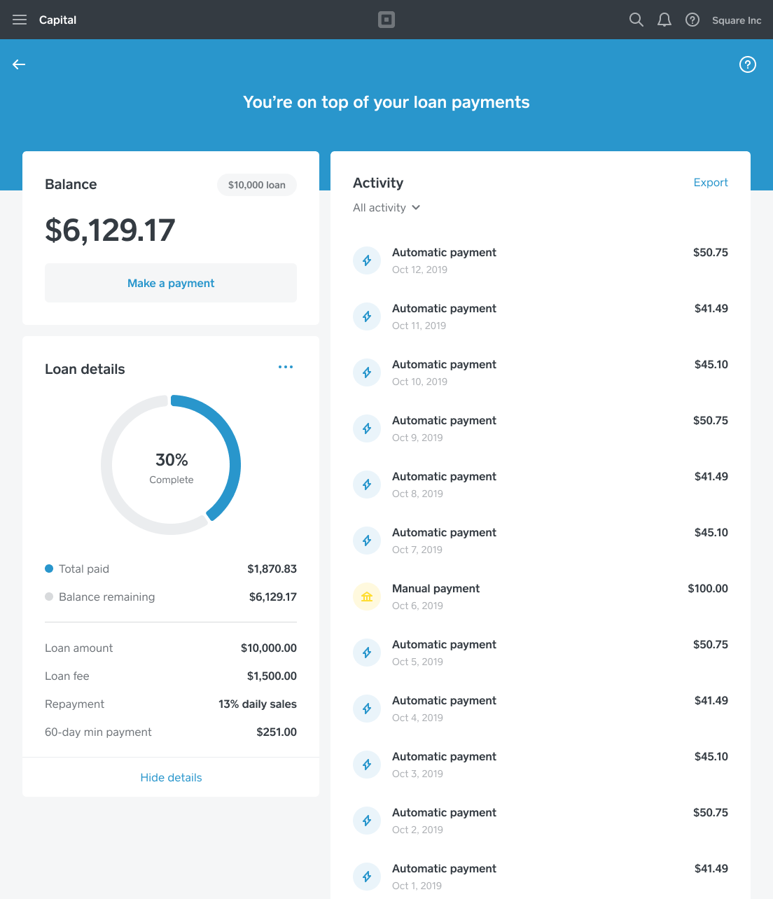 Square Capital - Repayment Dashboard - US