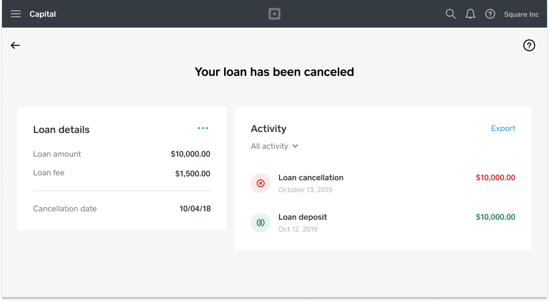 Square Capital - Loan Cancellation Dashboard - US
